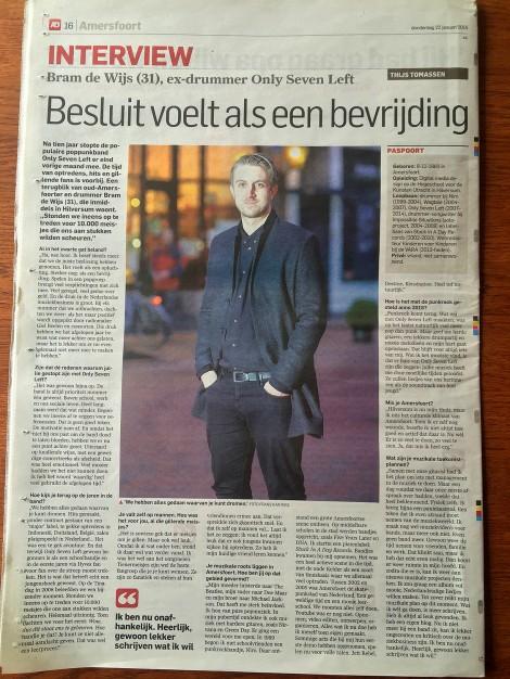 Interview Bram de Wijs AD Amersfoortse Courant